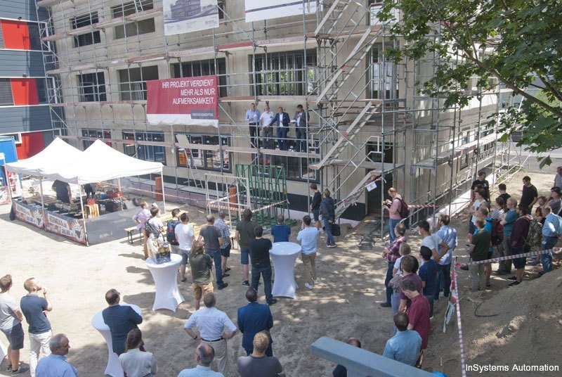 Topping out ceremony for new office building